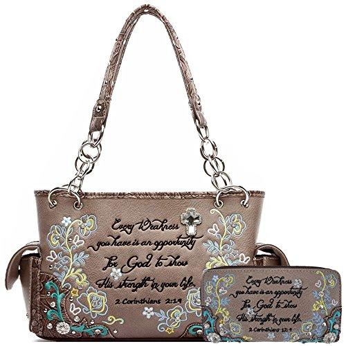 Embroidery Floral Bible Verse Scripture Purse Western Style Handbags Women Shoulder Bag Wallet Set Brown (Heart Handbag Winged)