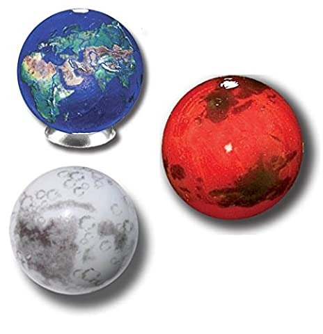 Earth, Mars & Moon Set of 3 Marbles w Bag & Stands - Earth Moon System
