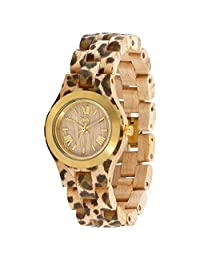 WeWood Criss Metal/Leopard Maple Wood Watch | Beige/Gold