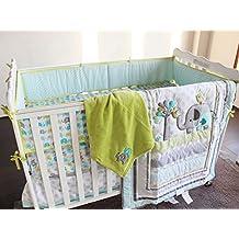 Baby Safari Elephant 9pcs Crib Bedding Set with diaper stacker