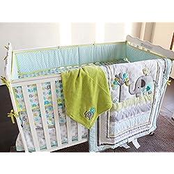 New Baby Safari Elephant 4pcs Crib Bedding Set (without bumper),1) quilt,1)sheet,1)fleece blanket,1)dust ruffle