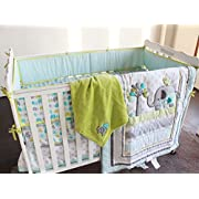 New Baby Safari Elephant 4pcs Crib Bedding Set (without bumper),1) quilt,1)sheet,1)fleece blanket,1)dust ruffle