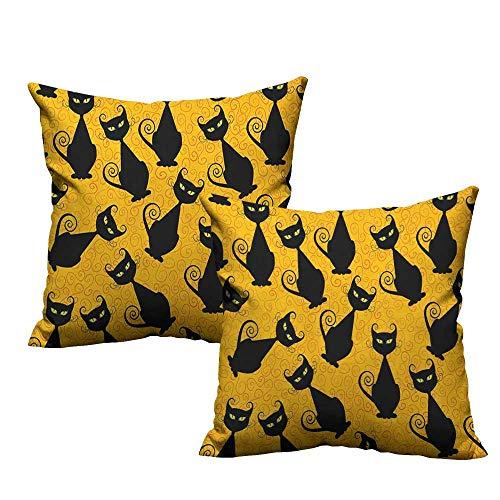 RuppertTextile Living Room Sofa Hug Pillowcase Vintage Black Cat Pattern for Halloween on Orange Background Celebration Graphic Patterns Anti-Fading W24 xL24 2 -