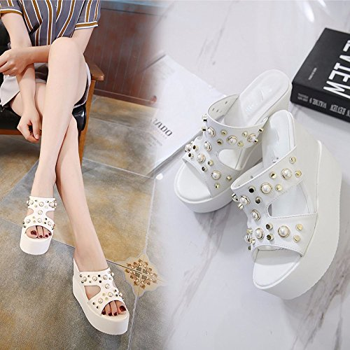 estate zeppe pantofole white tacchi 13cm impermeabile bocca GTVERNH in muffin le in pesce spesse il 37 pantofole super sexy 11 Pv5Twq