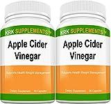 2 Bottles Apple Cider Vinegar 1000mg Per Serving 180 Total Capsules KRK Supplements For Sale