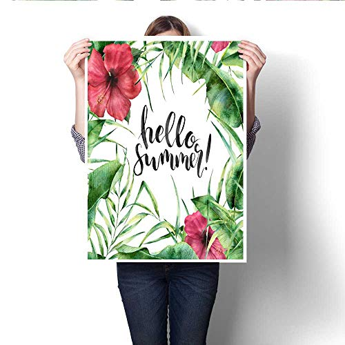 Modern Canvas Painting Wall Art Watercolor Hello summer card Hand painted floral border with palm tree leaves banana branch and hibiscus isolated on white background Summer card design with lettering