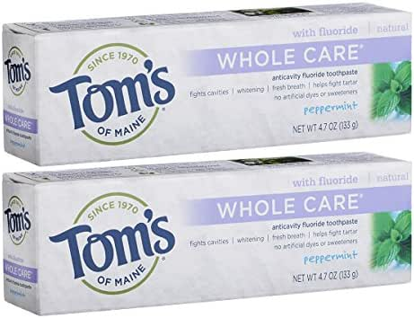 Tom's of Maine Whole Care Fluoride Toothpaste, Natural Toothpaste, Whitening Toothpaste, Peppermint, 4.7 Ounce, Pack of 2