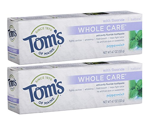 (Tom's of Maine Whole Care with Fluoride Natural Toothpaste, Peppermint 4.7 oz (Pack of 2))