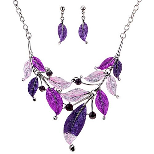 ssic Styling Purple Leaves Plus Diamond Necklace Sets (Whitby Jet Necklaces)