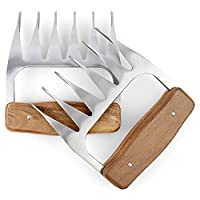 1Easylife Stainless Steel Wolf Claw Meat Handler Forks with Wooden Handle, Metal BBQ Meat Claws, Skid & Heat Resistant Pulled Pork Shredder Claws