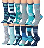 Tipi Toe Women's 12 Pairs Colorful Patterned Crew Socks (WC70-AB)