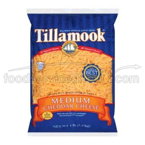 (Tillamook Shredded Medium Cheddar Cheese, 5 Pound - 4 per case.)