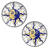 LilMents Sun And Moon Mens Womens Stainless Steel Stud Earrings