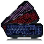 AULA SI 859 Backlit Gaming Keyboard with Adjustable Backlight Purple Red Blue USB Wired Illuminated Computer Keyboard