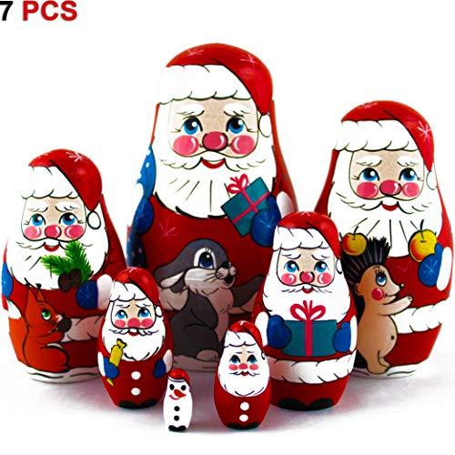 MATRYOSHKA&HANDICRAFT Matryoshkas Russian Nesting Dolls Christmas Santa Claus Set 7 pcs Unique Stocking Stuffer Ideas ()