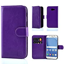 32nd Book Style Faux Leather Wallet Case Cover for Samsung Galaxy A5 (2017) - Purple