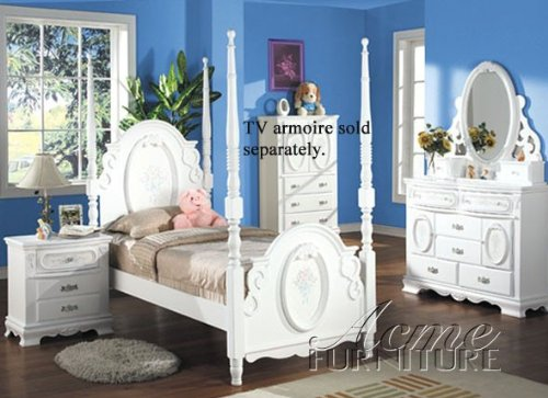 Flora White Flower 4PC Girls 4 Post Twin Size Bedroom