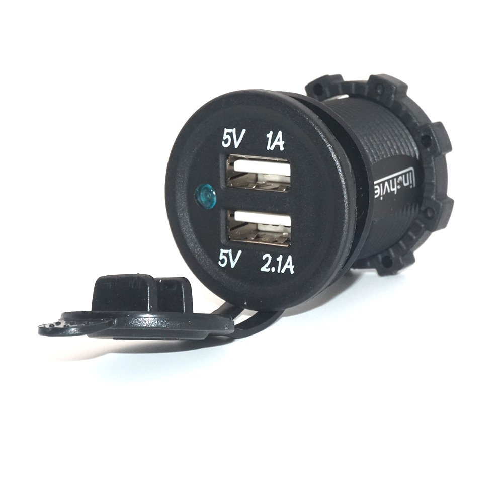 Linchview Dual USB Steckdose Einbau Auto RV Boots Motorrad Wohnwagen USB Stecker 5V 3.1A Ladegerä t Adapter 12V/24V KFZs Ladegerä t Adapter fü r Navi, Handy, GPS mit Staubdicht/ wasserdicht Cover 2716653558