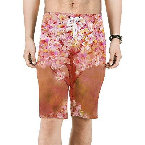Trunk Flowering (INTERESTPRINT Men's Drawstring Swim Trunks Flowering Tree Quick Dry Beach Shorts 5XL)