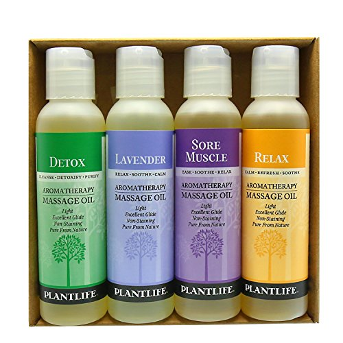 Aromatherapy Massage Oil (Detox, Lavender, Relax, Sore Muscle) - 4 Pack