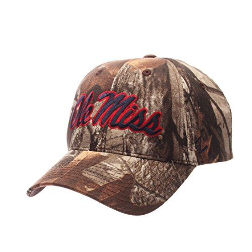 ZHATS NCAA Mississippi Old Miss Rebels Mens Staple Cap, Adjustable, Camouflage