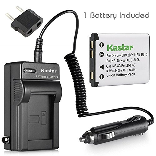 Kastar New Li-Ion Battery + Charger for Nikon EN-EL10 and Nikon CoolPix S200 S210 S220 S230 S500 Cameras