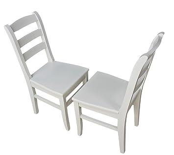 Stühle weiß holz landhaus  elbmöbel Stuhl Holzstuhl Küchenstuhl Massiv weiß Braun Vollholz Holz ...