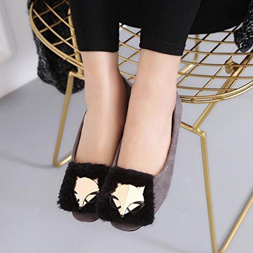 Sikye Womens Flats Ladies Comfy Walking Shoes Fox Soft Slip-On Casual Boat Shoes Gray NZarstxFk