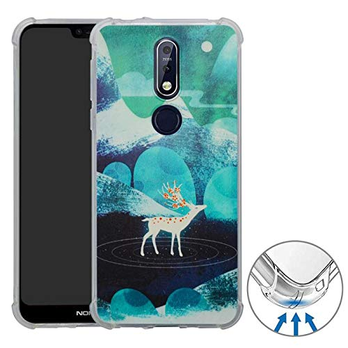HHDY Compatible with Huawei P30 Case,[Ultra Lightweight] Reinforced [4-Corners Bumper] Flexible TPU [Pattern Design] Cover for Huawei P30,Green Sika Deer (Designs Sika)
