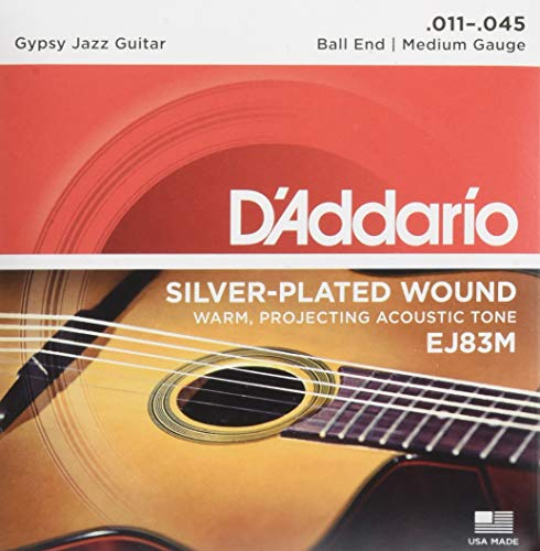 D'Addario EJ83M Gypsy Jazz Acoustic Guitar Strings, Ball End, Medium, 11-45