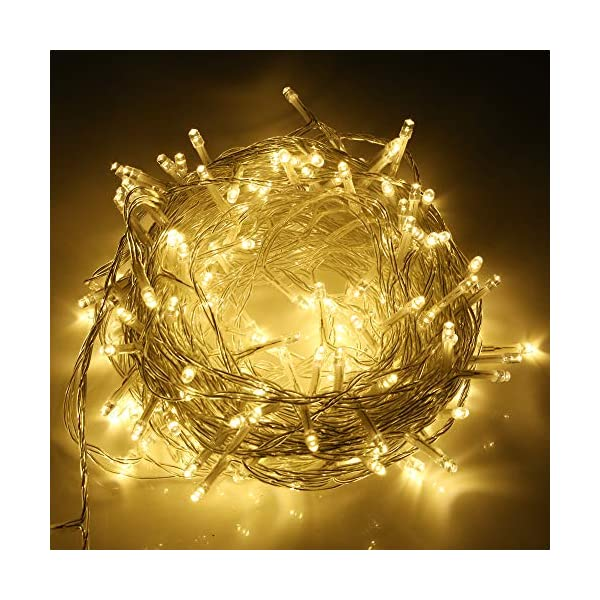 SYCEES Nastro Catena Luci 200 LED 23M Bianco Caldo da Interno 8 Effetti di Lampeggio/Funzione di Memoria/ IP44 / Luce Feste Natale Matrimonio Giardino Patio Mostra Vetrina (bianco caldo 200 led) 1 spesavip