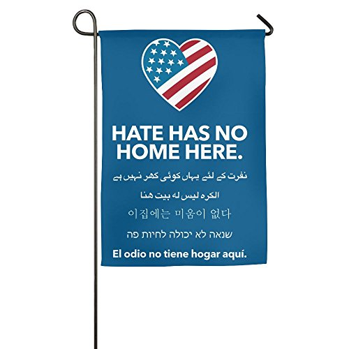MoningV Hate Has No Home Here Decorative Garden Flag House Party Flag Stand -
