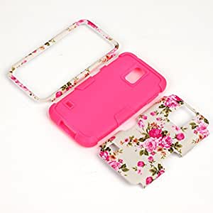 Galaxy S5 Case,Samsung Galaxy S5 Cases,Cover for Galaxy S5,Carryberry Beatiful Flower Pattern 3 in 1 Hybrid Case for Samsung Galaxy S5,Hot Pink