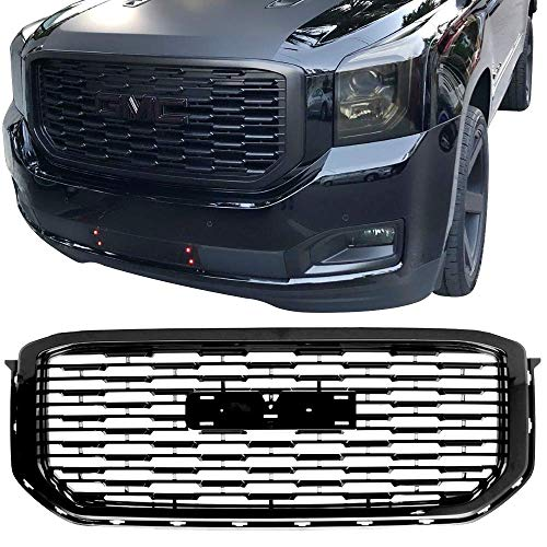 Grille Fits 2015-2019 GMC Yukon XL | Denali Style Front Grille Grill Guard Replacement ABS Black by IKON MOTORSPORTS ()