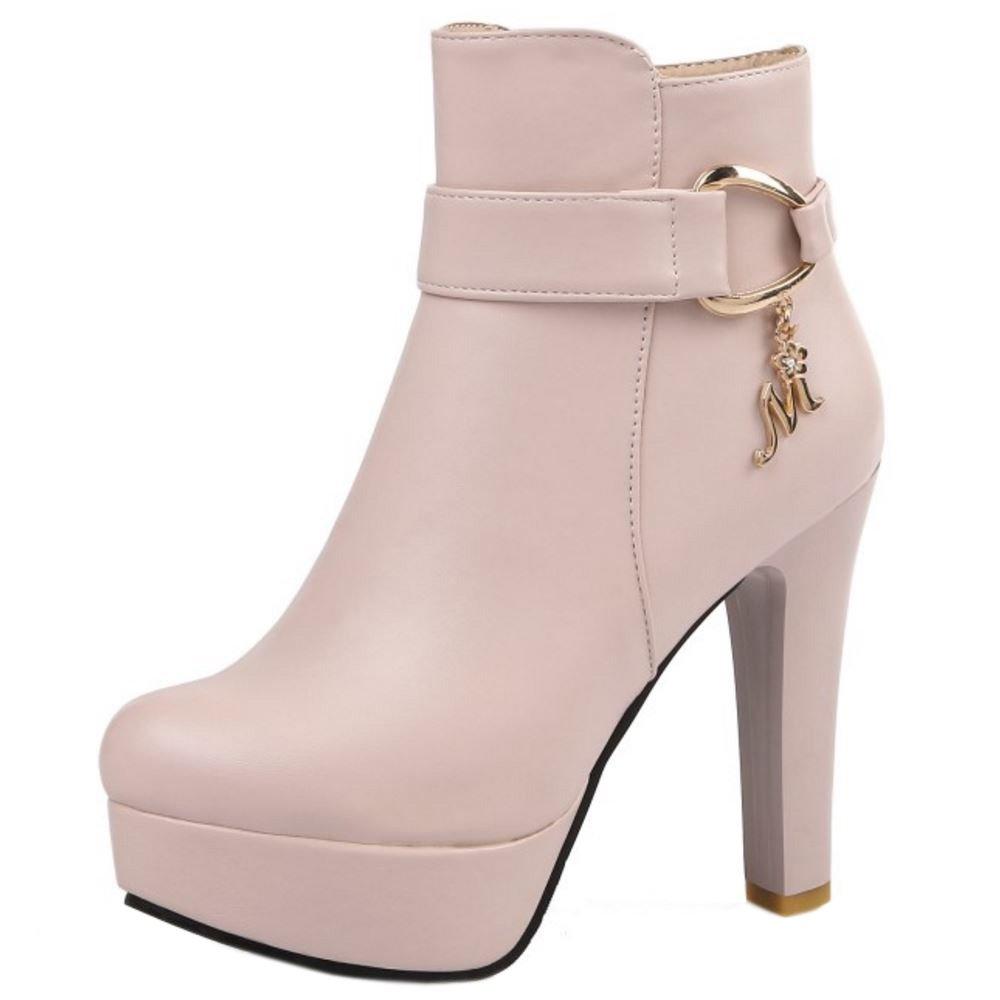 RAZAMAZA Damen Mode Plateau Stiletto High Heel Kurzschaft Stiefel Dress Schuhe Pink