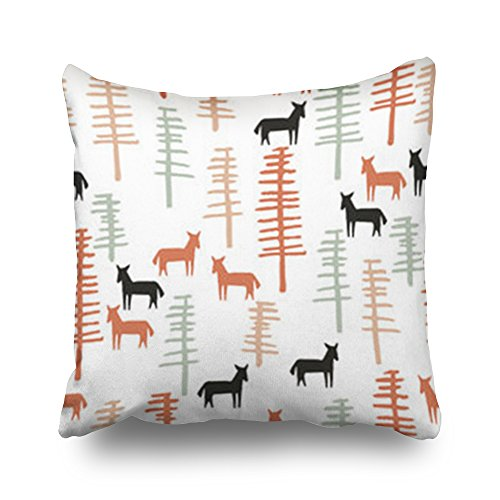 Home Decor Throw Pillow Covers Tribal Horses Trees Creative Forest Textures Nature Western Fabric Square Size 20 x 20 Inches Design Pillowcases Decorative Zippered Cushion Cases