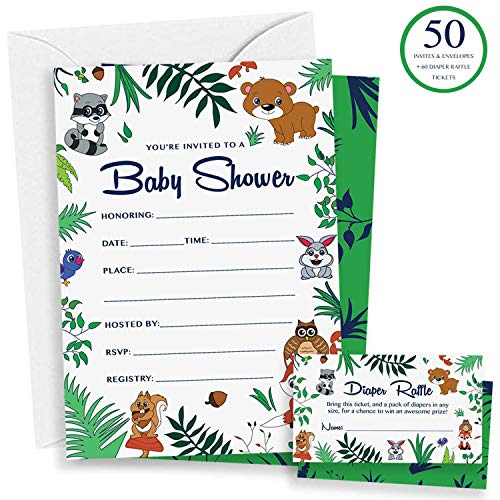 Woodland Baby Shower Invitations & Diaper Raffle Game