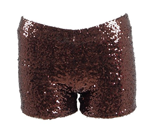 (Women Sexy Hot Glitter Sequin Shorts Summer Club Wear Multi-Color (US Women-L, Brown))