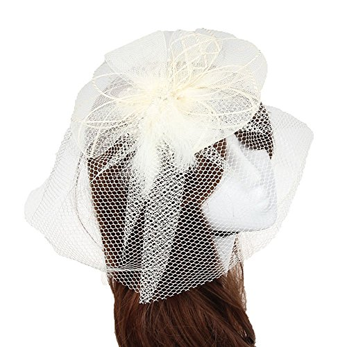 [Fascinator Hair Clip Head Hoop Feather Rose Flower Derby Cocktail Party Wedding Women Beige 3] (1920s Flapper Hairstyles)