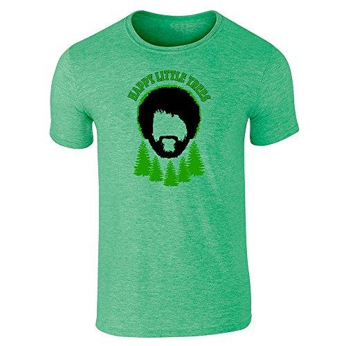 Happy Little Trees Funny Heather Irish Green L Short Sleeve T-Shirt by Pop Threads (Bob Ross Wig)