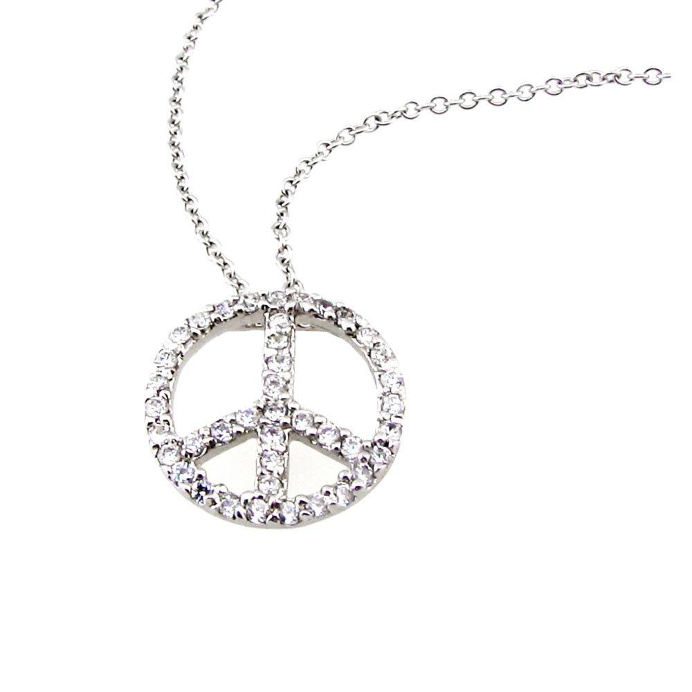 Peace Sign CZ Necklace Silver Small Petite Minimalist Genuine Rhodium Plated Brass Jewelry CZN128-S
