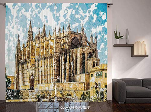 Thermal Insulated Blackout Window Curtain [ Gothic Decor,Big Gothic Building Sea Shore Cathedral of Palma De Mallorca View from Road,Cream Blue White ] for Living Room Bedroom Dorm Room Classroom Kitc