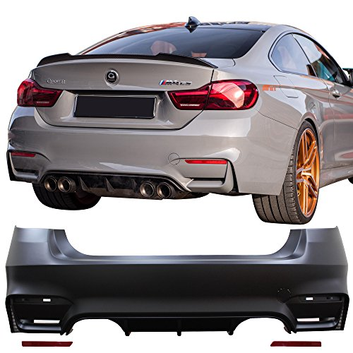Rear Bumper Cover Fits 2012-2018 BMW F30 | 3 Series M3 M4 Style Rear Bumper Conversion Diffuser Twin Muffler Twin Outlet by IKON MOTORSPORTS | 2013 2014 2015 2016