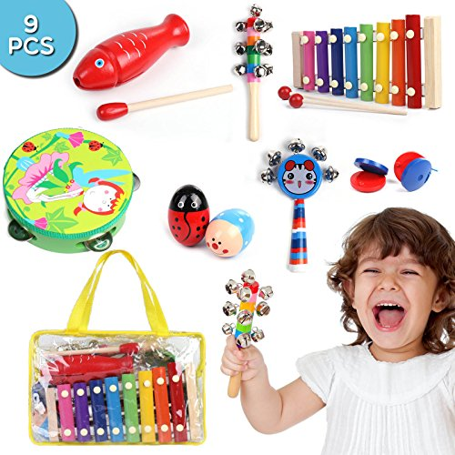 Percussion Musical Instruments Set for Kids - Play & Learn, 9 pcs Kit from Earth-Friendly & Natural ()