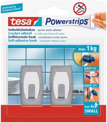 2 Hooks tesa UK Powerstrips Small Hooks with Removable Adhesive Strips Brushed Stainless Steel