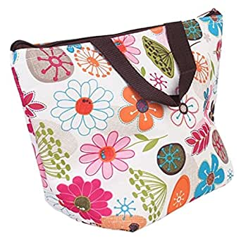 Waterproof Picnic Insulated Fashion Lunch Cooler Tote Bag Travel Zipper Organizer Box,A70-Flower by BigbigMall