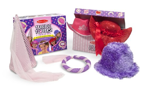Melissa & Doug Terrific Toppers! Dress-Up Hats Role Play Costume Collection - 5 Fancy Headpieces Lavender Princess Hat