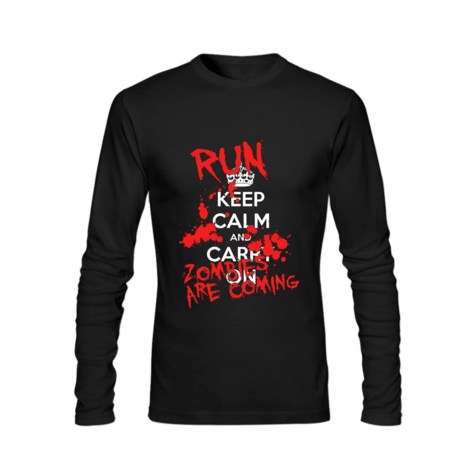 Anydover Keep Calm And Carry On Halloween Run Zombies Mens 100% Cotton Crew Neck Long Sleeve T-Shirt L Black