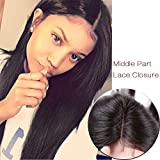 lady parts - Lady Miranda 4×4 Middle Part Silky Straight Lace Closure Unprocessed Peruvian Human Hair Extension (12