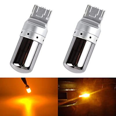 T20 7440 W21W WY21W LED Bulbs Amber Yellow Turn Signal Lights Error Free No Anti Hyper Flash Tail Lamps Front Rear Replacement Bright Chrome Invisible 3014SMD 12V 21W 1 Year Warranty 2 Pack【1797】: Automotive